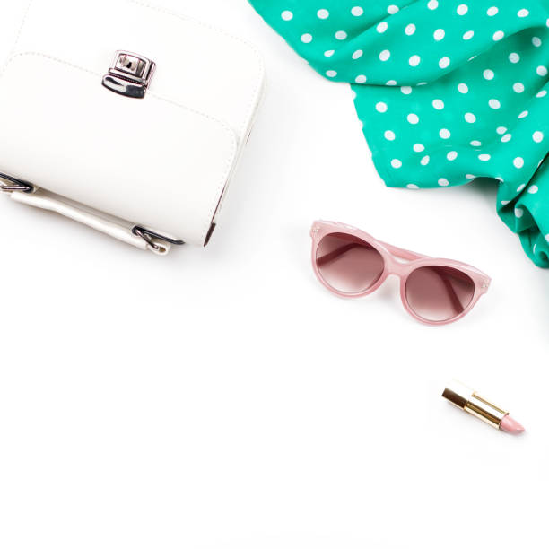 woman fashion accessories flat lay - white purse, pink sunglasses, lipstick, scarf. spring concept fashion collection. - spring fashion stock pictures, royalty-free photos & images