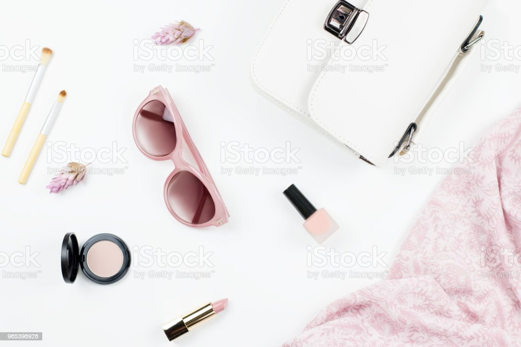Woman fashion and beauty accessories - purse, sunglasses, scarf, cosmetics. Spring concept fashion collection. zbiór zdjęć royalty-free