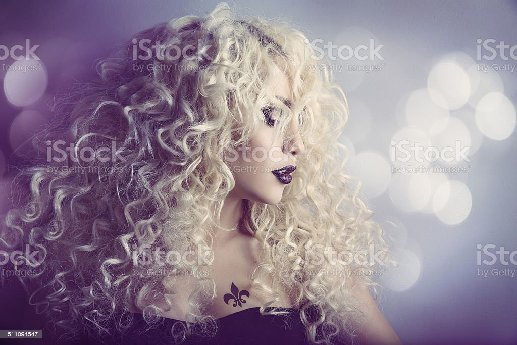 Woman Fashion Beauty Portrait, Model Girl Hairstyle, Blond Curly Hair stock photo