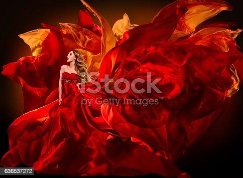 istock Woman Fashion Dress Flying Red Fabric, Beautiful Girl Waving Cloth 636537272