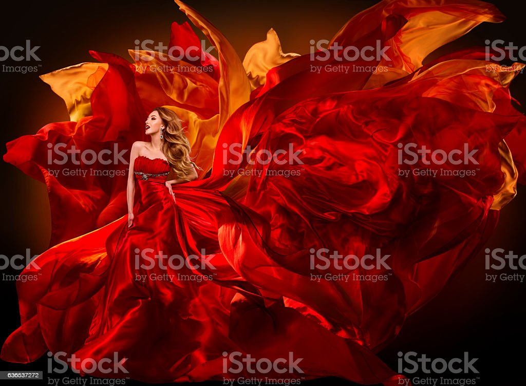 Woman Fashion Dress Flying Red Fabric, Beautiful Girl Waving Cloth stock photo