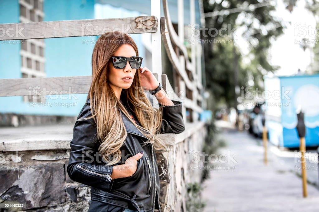 Woman fashion outdoors stock photo