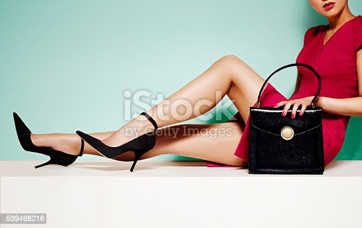 istock Woman fashion with black purse hand bag with high heels shoes. 539468216