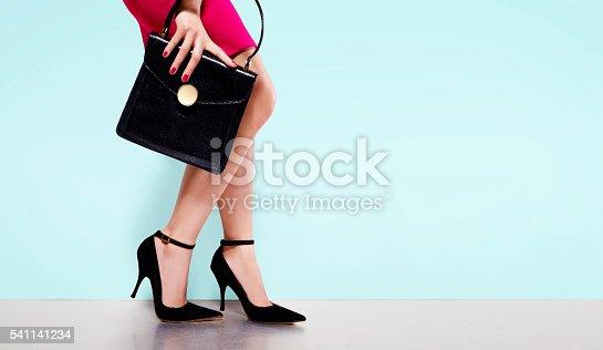539468216 istock photo Woman fashion.black purse hand bag with high heels shoes. 541141234