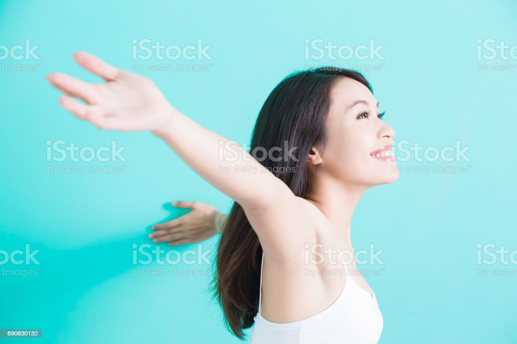 woman feel free stock photo