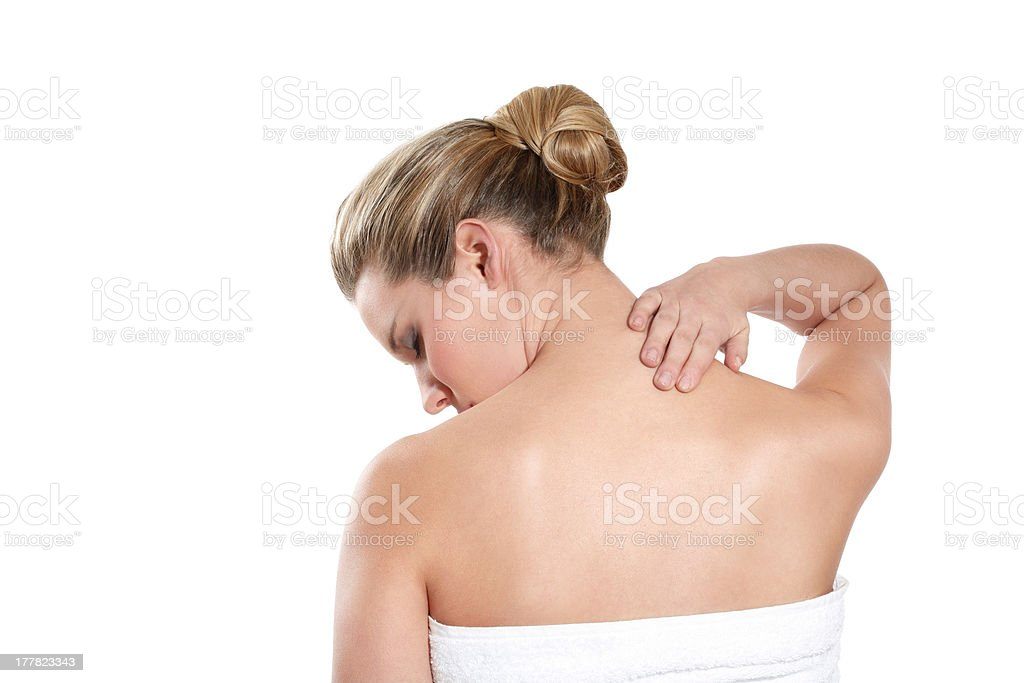 woman feeling backace royalty-free stock photo
