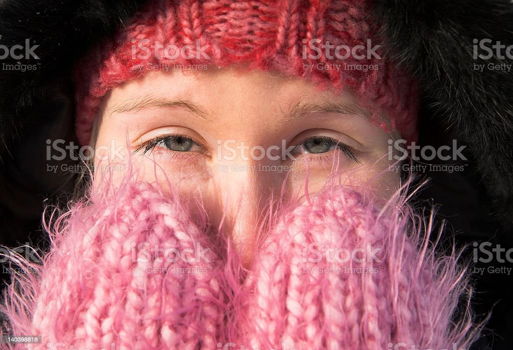 woman feeling cold royalty-free stock photo