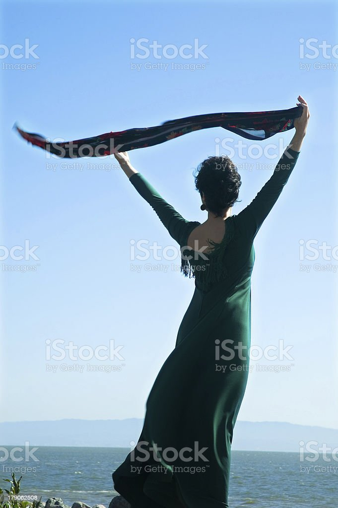 Woman feeling free - open arms stock photo