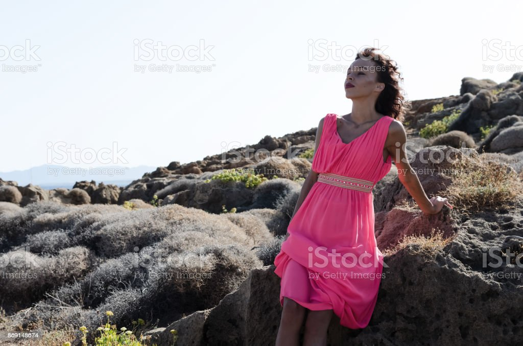 Woman feeling moment end enjoying stock photo