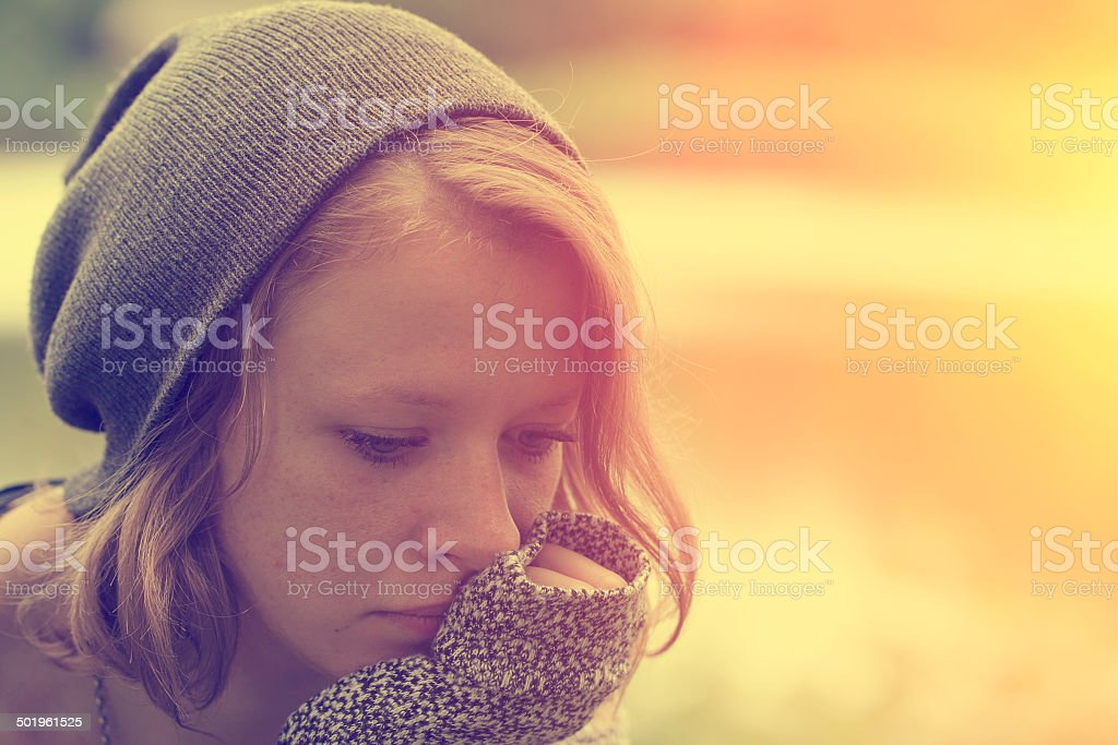 Woman feeling so alone stock photo