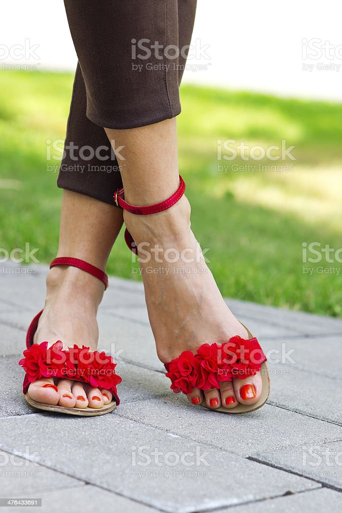 woman feet in sandals royalty-free stock photo