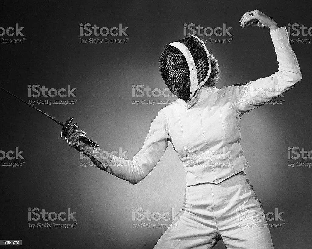 Женщина, Фехтование Стоковые фото Стоковая фотография