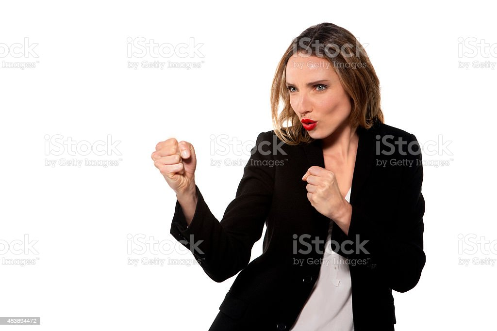 Woman fighting stock photo