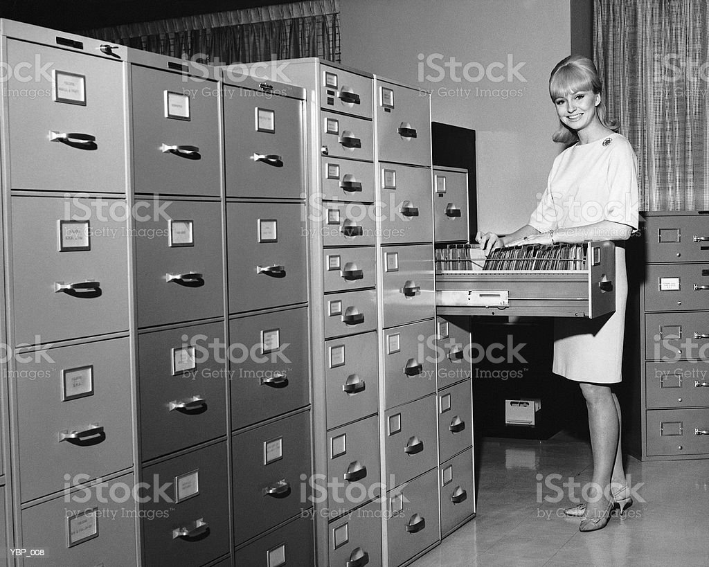 Woman filing royalty-free stock photo