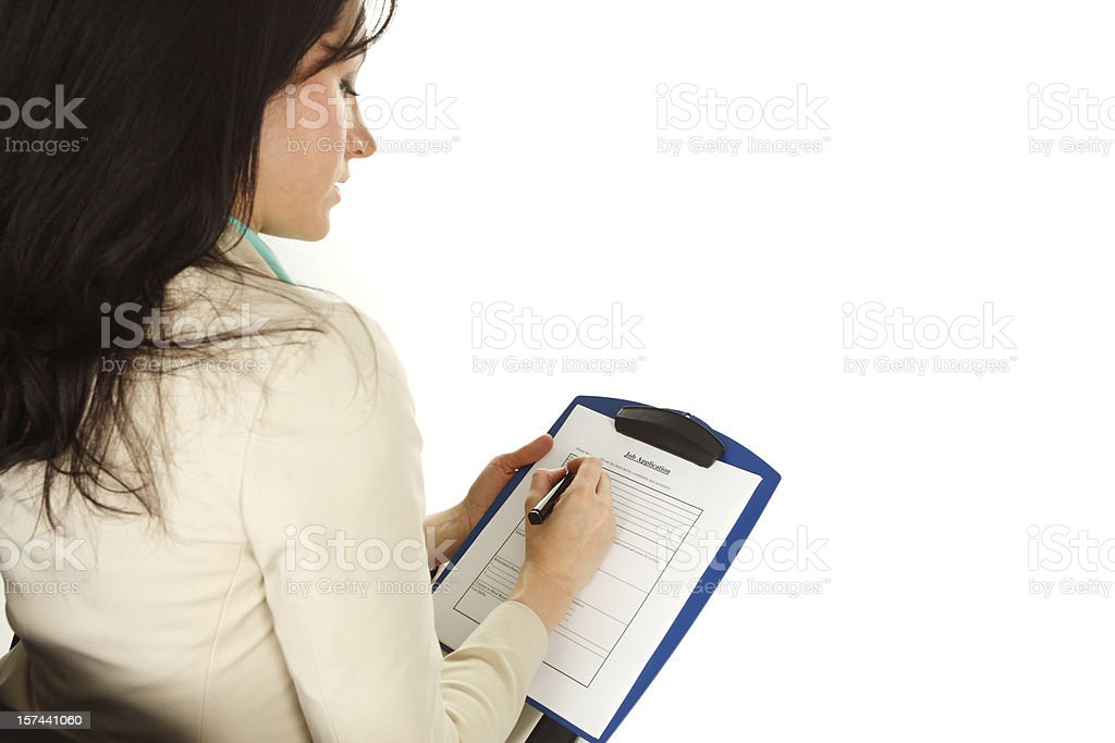 Woman Filling Application royalty-free stock photo