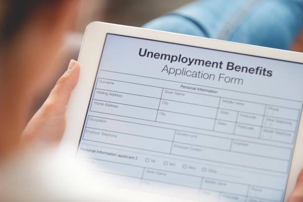 Frau füllt ein Online-Arbeitslosengeld-Formular aus. – Foto