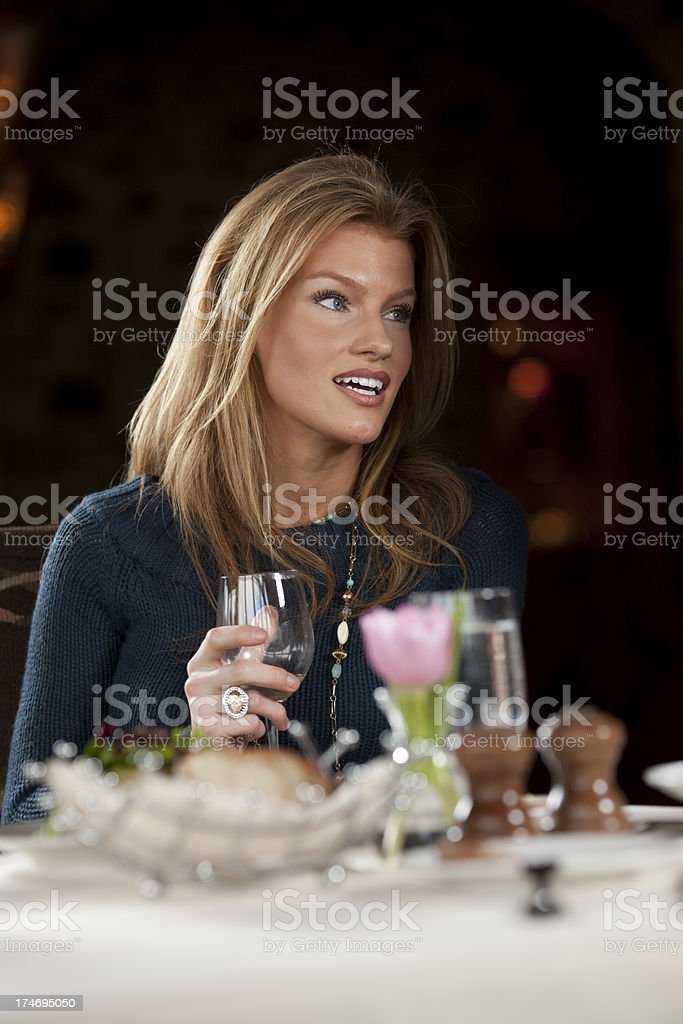 Woman fine dining royalty-free stock photo