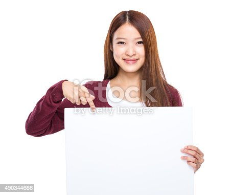 528291188 istock photo Woman finger point down to white board 490344666