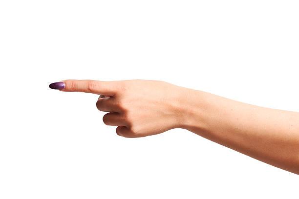 frau finger zeigen - nägel lackieren stock-fotos und bilder