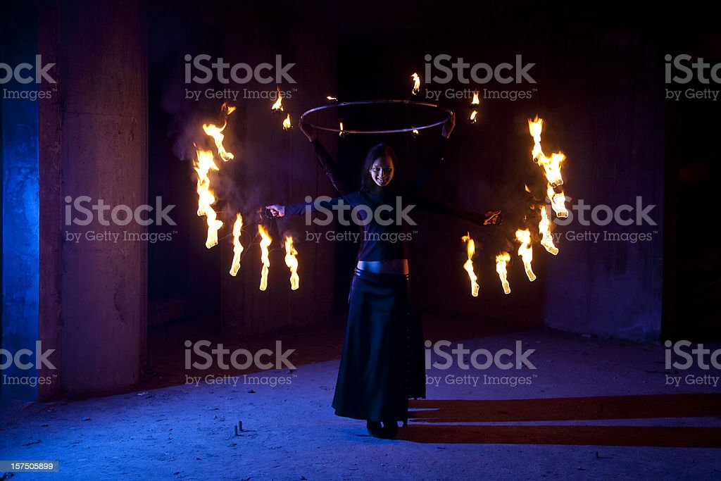 Woman Fire Performers showing the Firebird royalty-free stock photo