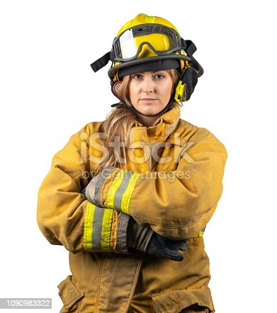Woman firefighter: fireman on white background looking confident at camera