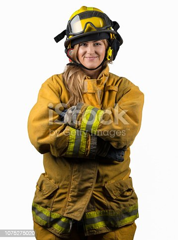 Woman firefighter: fireman on white background looking happy at camera