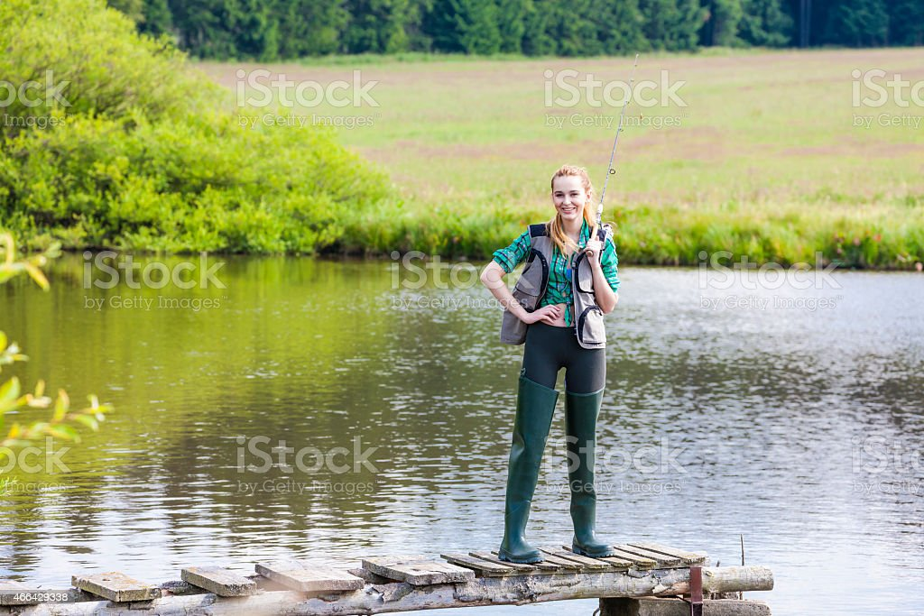 woman fishing stock photo