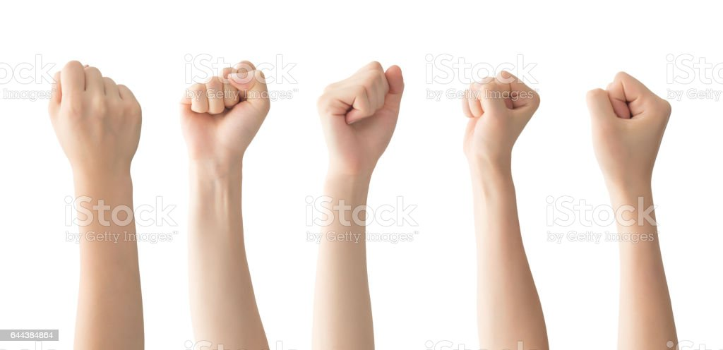 Woman fist set , isolated stock photo