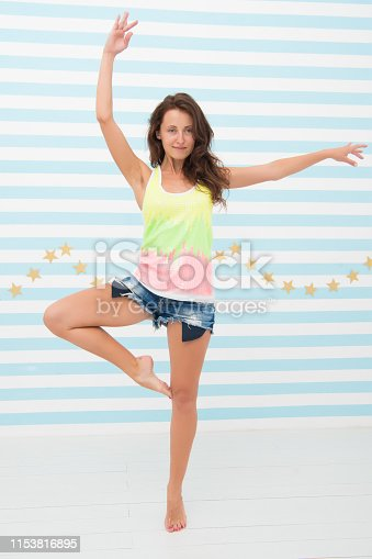istock Woman fit slim lady posing as ballerina. Healthy lifestyle keep in good mood. Lady fit healthy look good. Fitness lifestyle benefits and advantages. Ballet dance on her mind. Ballet as part of life 1153816895