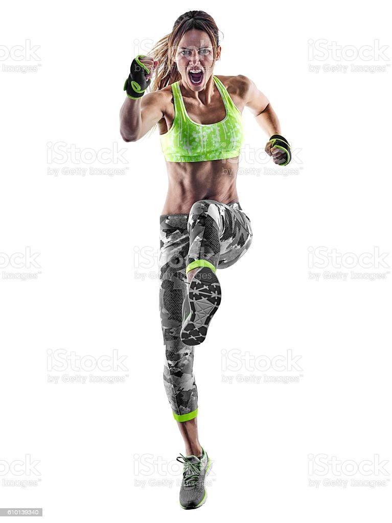 woman fitness boxing pilates excercises isolated stock photo