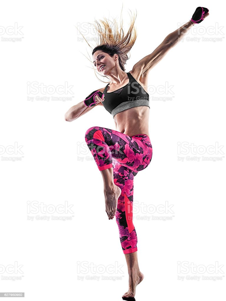 woman fitness boxing pilates excercises isolated royalty-free stock photo