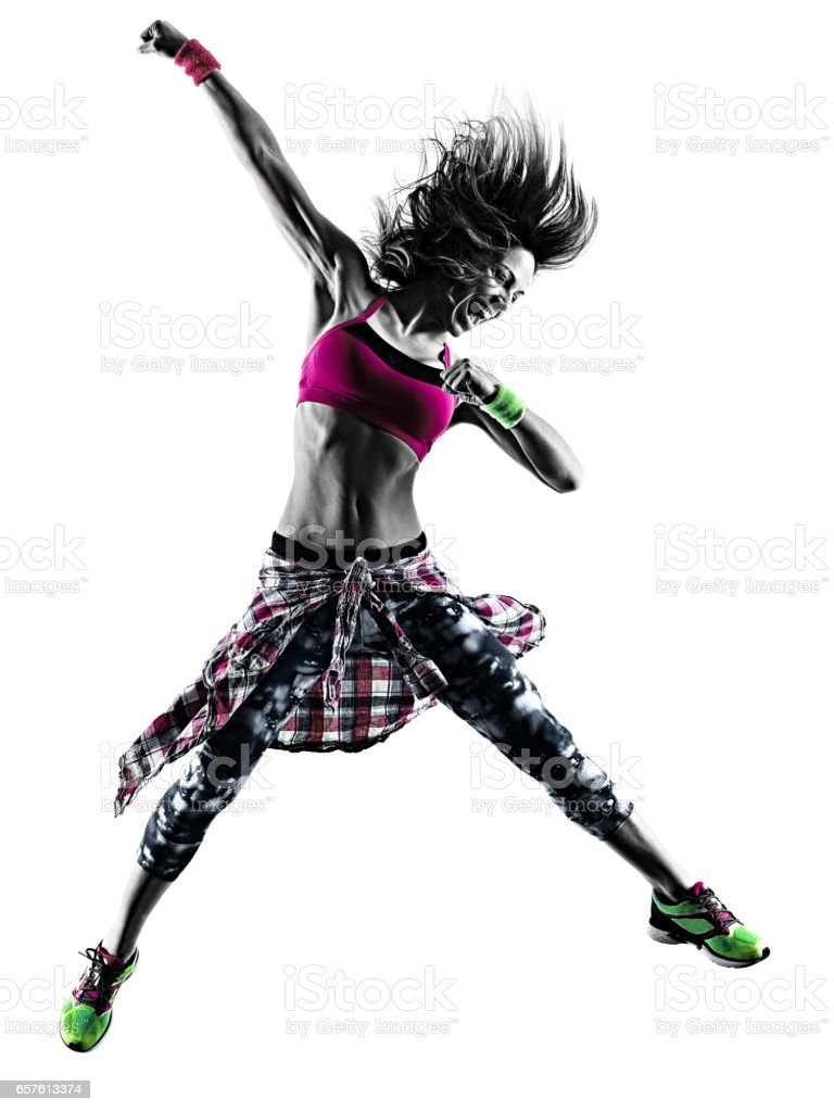 woman fitness exercises dancer dancing isolated silhouette stock photo