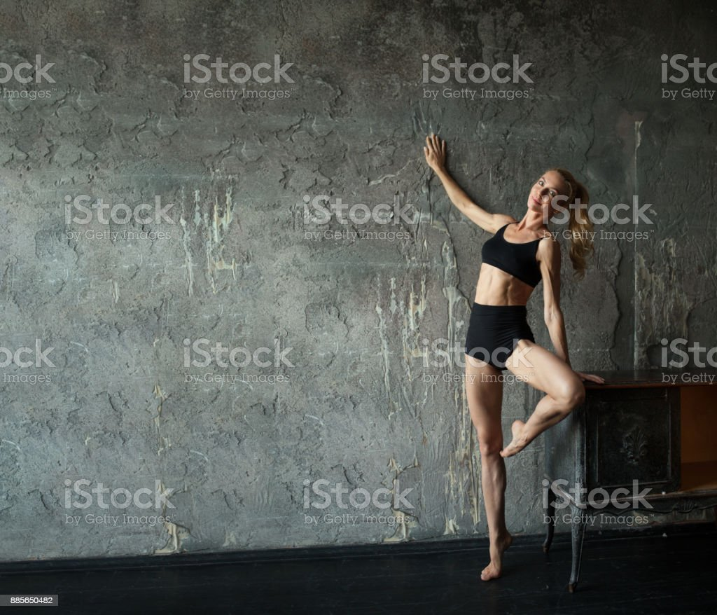 Woman Fitness Gymnastic Exercise, Sport mature Girl Fit Dance, stock photo