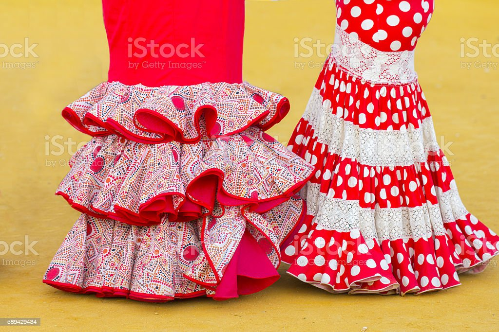 woman flamenco dress stock photo