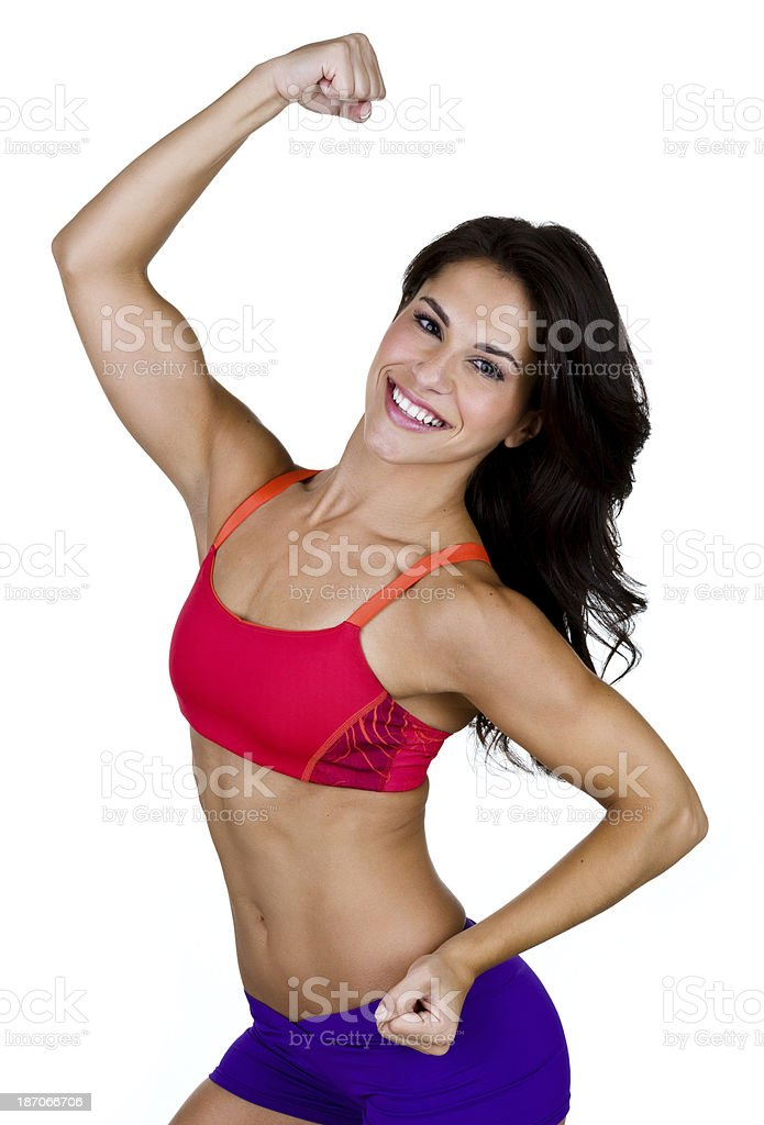 Woman flexing her muscles royalty-free stock photo