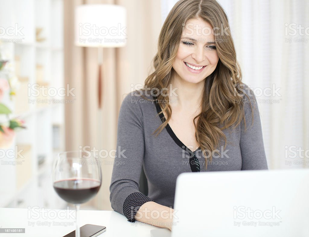 Woman flirting on internet. royalty-free stock photo