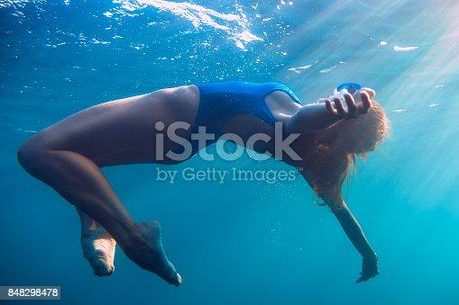 888067280istockphoto Woman floating in underwater, blue ocean. 848298478