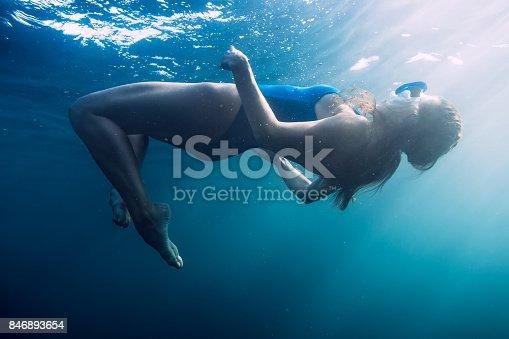 888067280istockphoto Woman floating underwater in blue ocean 846893654