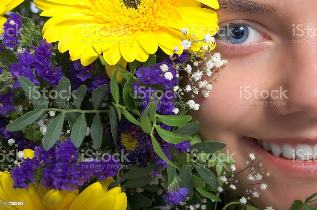 woman flower smile stock photo