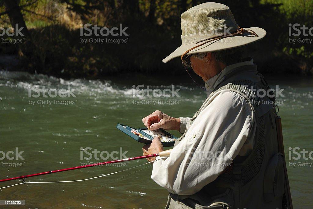 Woman Fly Fishing 9 royalty-free stock photo