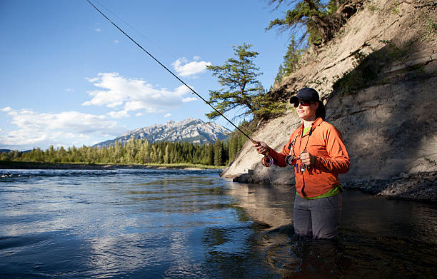 Woman Fly Fishing for Trout on a British Columbia River.