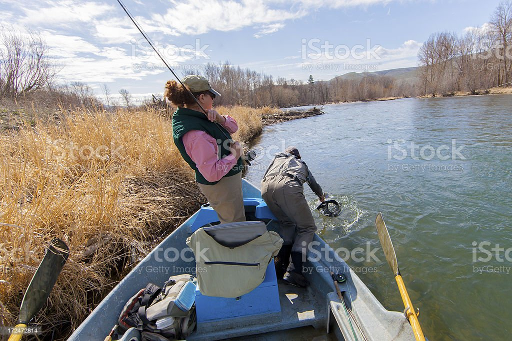 Woman Fly Fishing stock photo