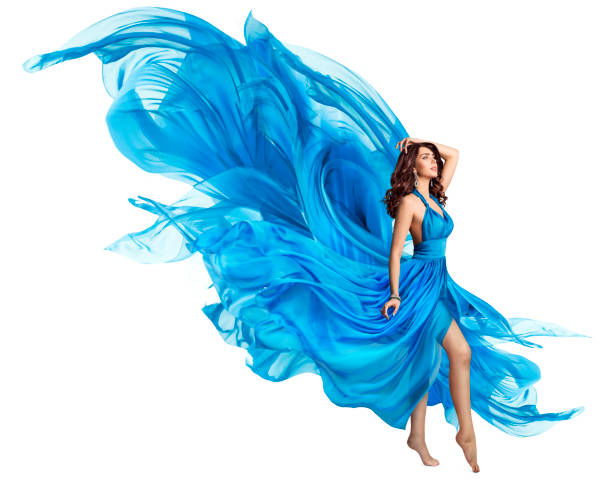 woman flying blue dress, elegant fashion model in fluttering gown on white, art fabric fly and flutter on wind - prom fashion stock photos and pictures