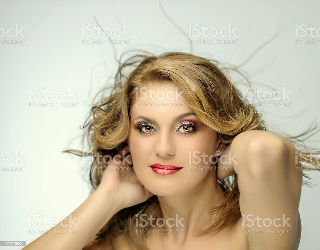 woman flying hair stock photo