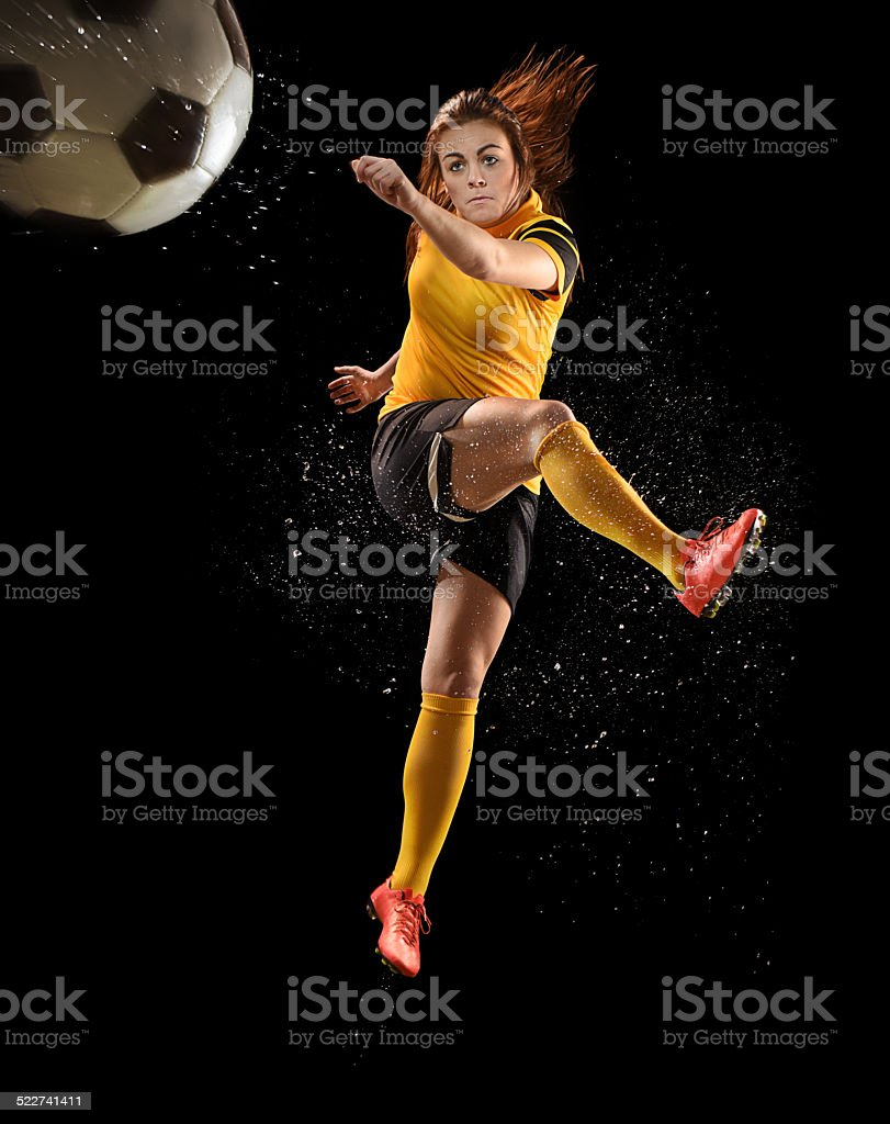 woman footballer stock photo
