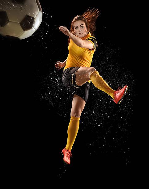 woman footballer stock photo