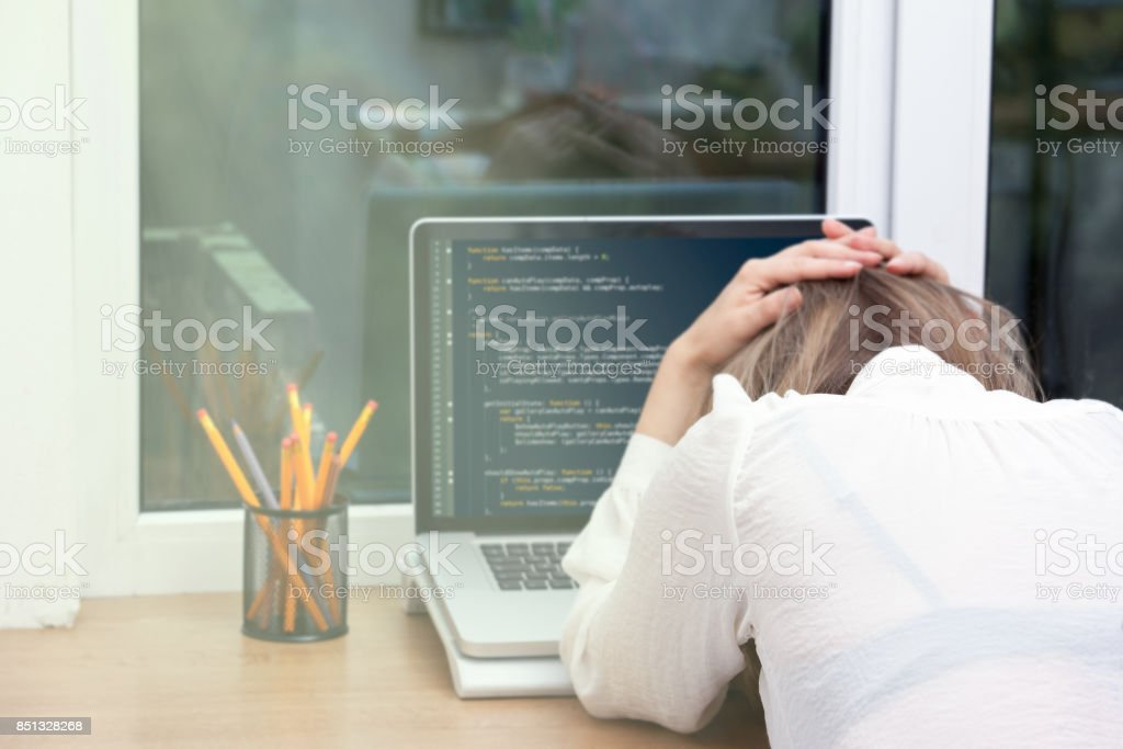 woman freelance programmer working from home - Royalty-free Abstract Stock Photo