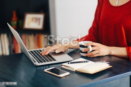 istock Woman freelancer or blogger typing on the laptop 517679768