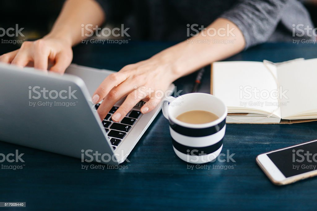 Woman freelancer or blogger writing on the laptop stock photo