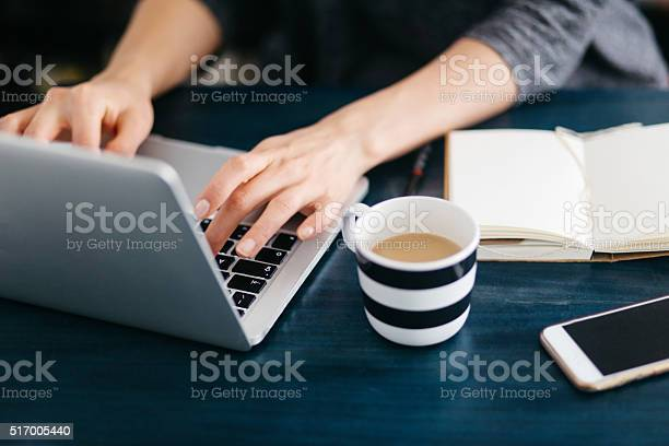Woman Freelancer Or Blogger Writing On The Laptop Stock Photo - Download Image Now